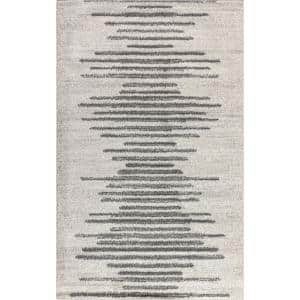 Aya Berber Stripe Geometric Cream/Gray 8 ft. x 10 ft. Area Rug