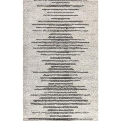 Aya Berber Stripe Geometric Cream/Gray 8 ft. x 10 ft. Area Rug