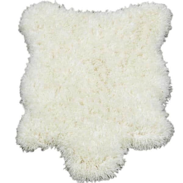 Ottomanson - Pure Fuzzy Flokati Lambskin Design Ivory 2 ft. x 3 ft. Faux Sheepskin Indoor Kids Area Rug