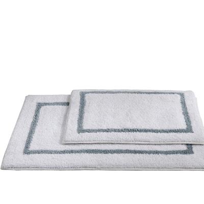2-Pack Reversible Cotton Contrast Stripe 21x34 inch Bath Mat Set Silver