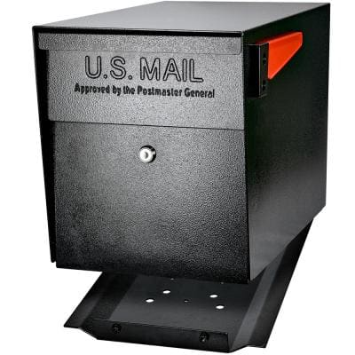 Locking Post Mount Mailbox with High Security Reinforced Patented Locking System, Black