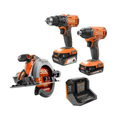 18V Cordless Combo Kit (3-Tool) with (1) 2.0 Ah battery, (1) 4.0 Ah Battery, Charger and Tool Bag