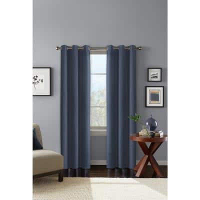 Blue Solid Polyester 42 in. W x 84 in. L Grommet Blackout Curtain Panel
