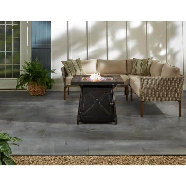Hampton Bay Crossridge 50 000 Btu Antique Bronze Finish Gas Fire Pit G Ftb 51057b The Home Depot