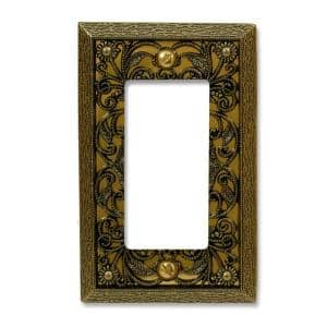 Filigree 1 Gang Rocker Metal Wall Plate - Antique Brass