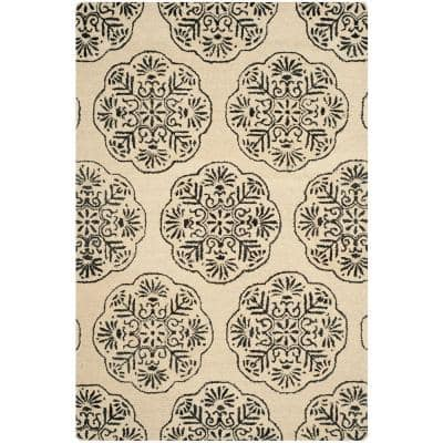 Bella Ivory/Charcoal 6 ft. x 9 ft. Area Rug