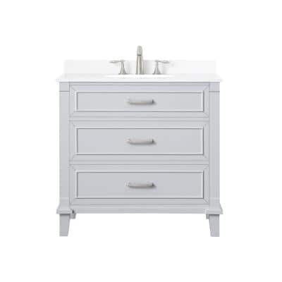 Pinestream 36 in. W x 22 in. D Bath Vanity in Dove Grey with Cultured Stone Vanity Top in White with White Basin