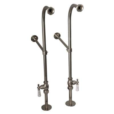 1/2 in. x 1 ft. Brass Freestanding Bath Supplies with Stops Porcelain Lever Handles in Polished Nickel