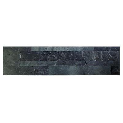 23.6 in. x 5.9 in. Charcoal Slate Peel and Stick Stone Decorative Tile Backsplash