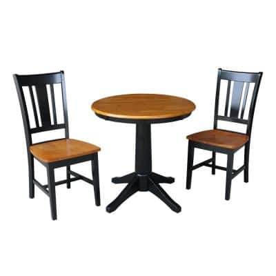 3-Piece Set Olivia Black / Cherry 30 in Round Solid Wood Dining Table and 2 San Remo Side Chairs