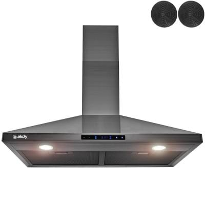 30 in. 343 CFM Convertible Wall Mount Range Hood Touch Controls,LED Lights,Carbon Filters in Black Stainless Steel