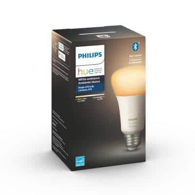White Ambiance A19 LED 60-Watt Equivalent Dimmable Smart Wireless Light Bulb with Bluetooth