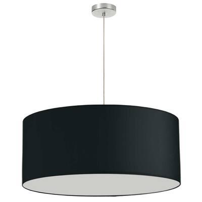 Oversized Drum 1-Light Black Pendant with Laminated Fabric Shade