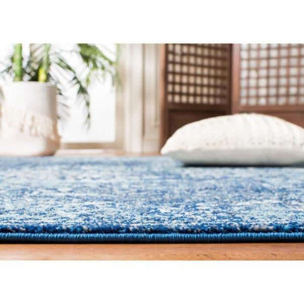 Safavieh Evoke Navy Ivory 3 Ft X 3 Ft Round Area Rug Evk256a 3r The Home Depot