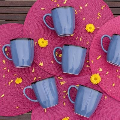 RYO 14.20 oz. Blue Porcelain Mugs (Set of 6)