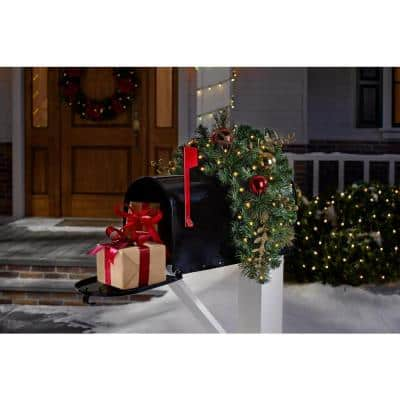 32 in. Royal Easton Battery Operated Pre-Lit LED Artificial Christmas Mailbox Swag