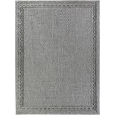 Border Charcoal Gray 8 ft. x 10 ft. Indoor/Outdoor Area Rug