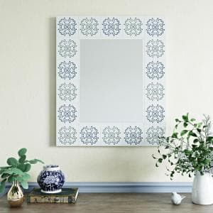 Medium Rectangle Off-White Finish With Blue And Green Decals Modern Mirror (35.5 in. H x 30 in. W)