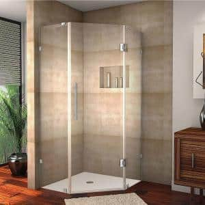 Aston Neoscape 42 In X 72 In Frameless Neo Angle Shower Enclosure In Stainless Steel With Self Closing Hinges Sen986 Ss 42 10 The Home Depot