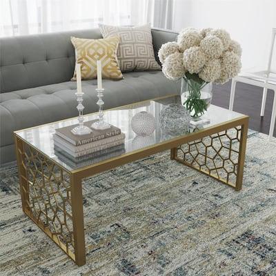 Juliette Glass Top Coffee Table, Brass