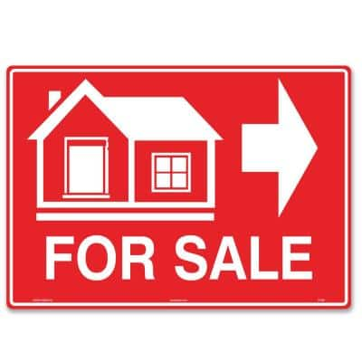 14 in. x 10 in. House For Sale Sign (Right Arrow) Printed on More Durable Longer-Lasting Thicker Styrene Plastic.