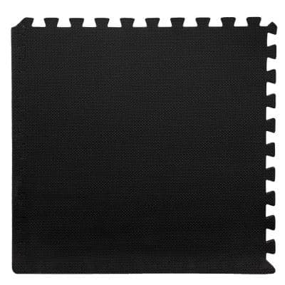Black 24 in. x 24 in. x 0.375 in. Interlocking EVA Foam Floor Mat (6-Pack)
