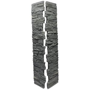 Slatestone Rundle Ridge 8 in. x 8 in. x 41 in. Faux Polyurethane Stone Deck Post Cover (2-Piece)