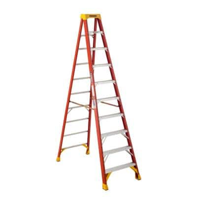 10 ft. Fiberglass Step Ladder with Yellow Top 300 lbs. Load Capacity Type IA Duty Rating