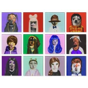 4 in. x 4 in. Glass Coasters with Cork Bottom - Music 12-Characters