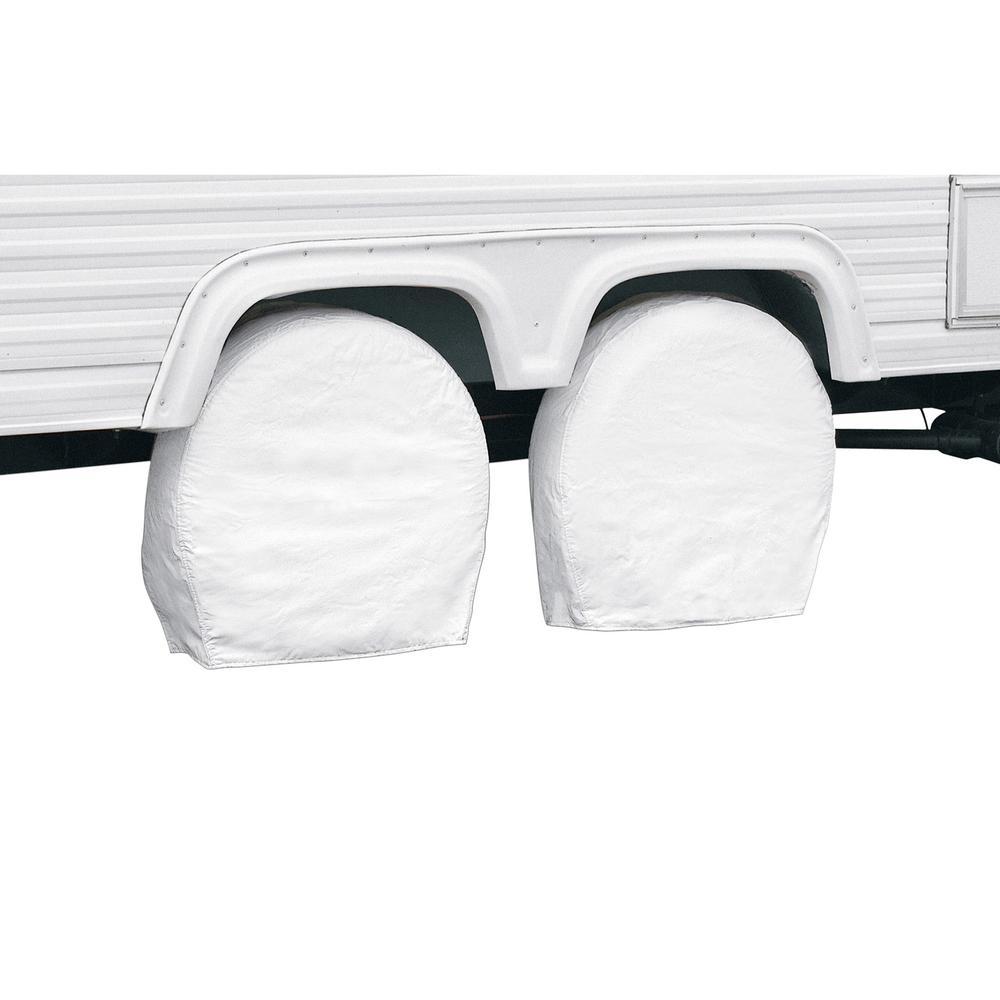 "White RV Wheel Cover, 30"" - 33"" Diameter, 9"" Tire Width"