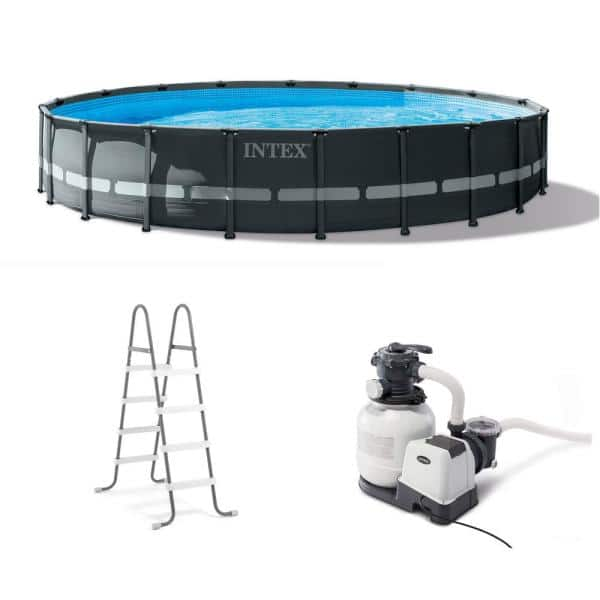 Intex 20 Ft X 48 In Ultra Xtr Frame Round Swimming Pool Set With Sand Filter Pump 26333eh The Home Depot