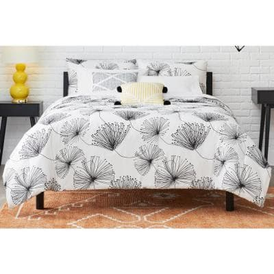 Sweeney 5-Piece White/Black Floral Full/Queen Comforter Set