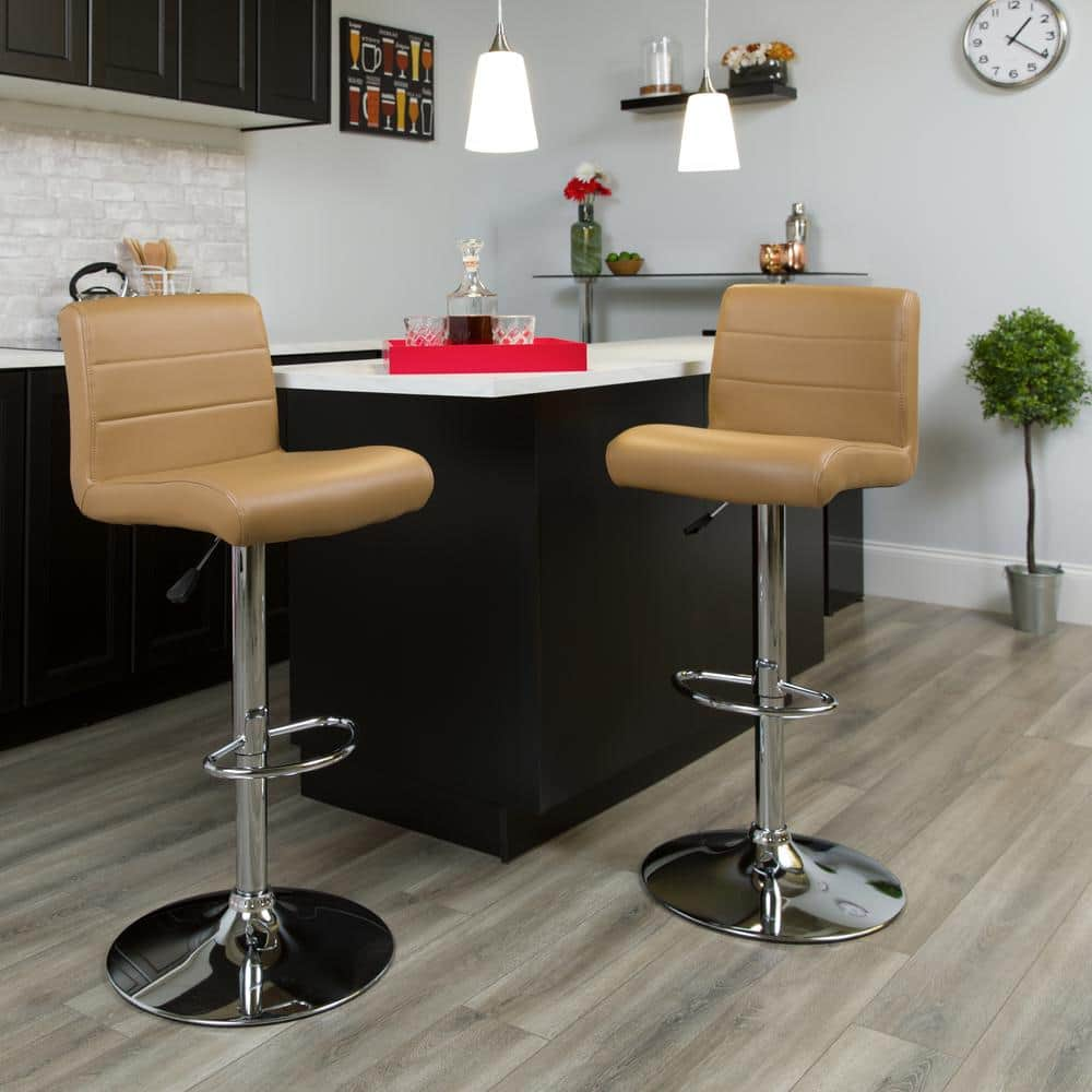 Flash Furniture 34 50 In Adjustable Height Cappuccino Cushioned Bar Stool Ds8110bcap The Home Depot