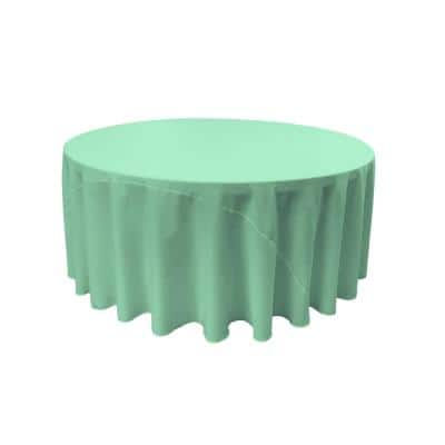 132 in. Round Mint Polyester Poplin Tablecloth