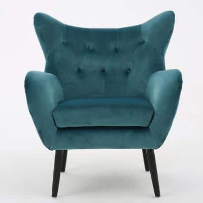 Seigfried Dark Teal New Velvet Arm Chair