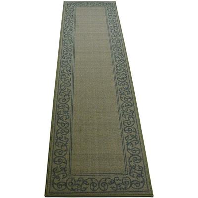 Modern Abstract Scroll Frame Design Sage Green 2' Width x 7' Length Slip Resistant Rubber Runner Rug