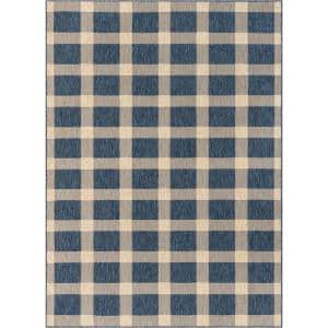 Medusa Freya Blue Checkered 5 ft. 3 in. x 7 ft. 3 in. Indoor/Outdoor Area Rug