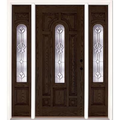 63.5 in.x81.625 in. Medina Zinc Center Arch Lite Stained Walnut Oak Left-Hand Fiberglass Prehung Front Door w/ Sidelites