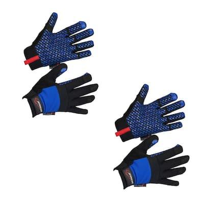Small/Medium, Blue/Black, Super Grip Palm Gloves, Non-Slip Texture, Hook and Loop Wrist Strap (2-Pairs)