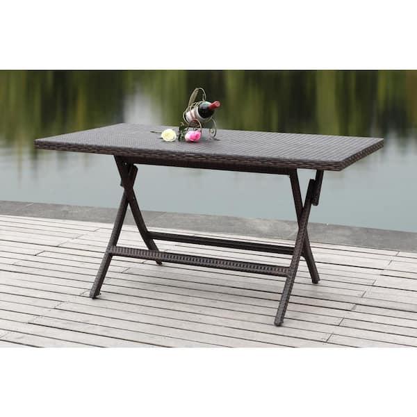 Safavieh Dilettie Brown Rectangle, Folding Patio Furniture Dining Sets