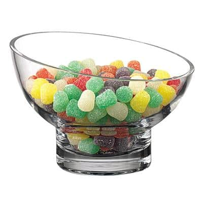 Kira Lead Free Mouth Blown Slant Cut Clear Candy Bowl