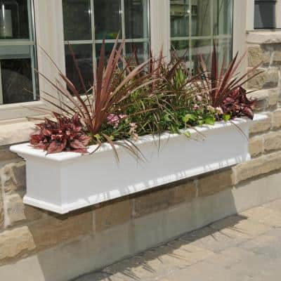 60 in. x 12 in. White Plastic Self-Watering Window Box