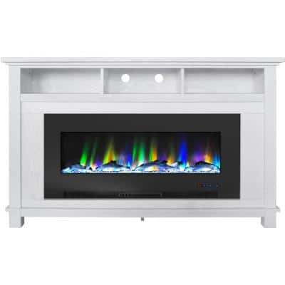 """San Jose 58 in. Freestanding Electric Fireplace Entertainment Stand in White with 50"""" Insert and Driftwood Log Display"""