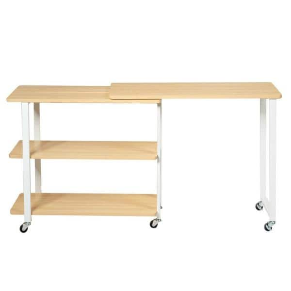 Boyel Living 31 5 In Natural Wood 360 Rotating Sofa Side Table With Storage Shelves And Wheels Hysn 63073na The Home Depot - Side Table With Storage Shelves