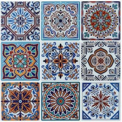 Morocco Blue 11.7 in. x 11.7 in. Vinyl Peel and Stick Tile Backsplash Wall Tile ( 9.5 sq. ft. /pack)