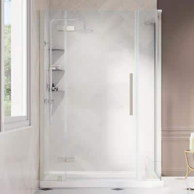 Tampa 54 in. L x 32 in. W x 72 in. H Corner Shower Kit with Pivot Frameless Shower Door in Nickel and Shower Pan
