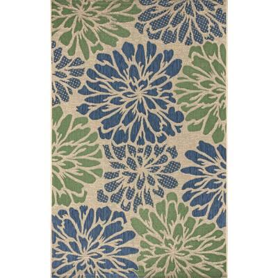 Zinnia Navy/Green 8 ft. x 10 ft. Floral Indoor/Outdoor Area Rug