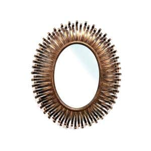 Ophelia 34 in. x 28 in. Modern Oval Metal Framed Copper Color Accent Mirror