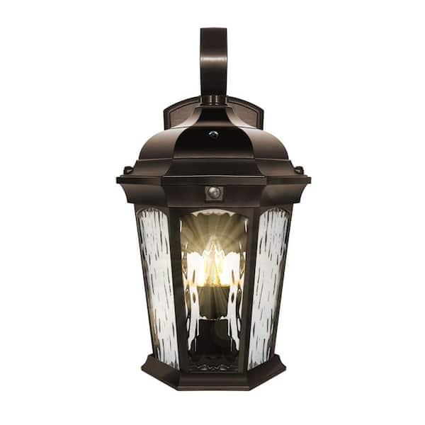 Euri Lighting 2 Light 14 6 In Bronze, Motion Sensor Lantern Outdoor Light