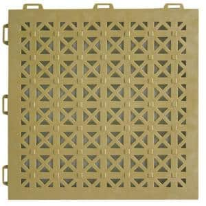 StayLock Perforated Tan 12 in. x 12 in. x 0.56 in. PVC Plastic Interlocking Outdoor Floor Tile (Case of 26)